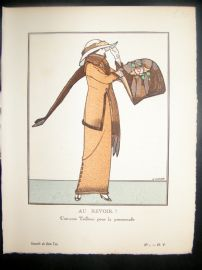 Gazette du Bon Ton by Gose 1912 Art Deco Pochoir. Au Revoir